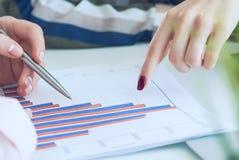 Dos empresarias que discuten el diagrama financiero, gr?fico, cartas de negocio durante la reuni?n de negocios Empresarias que se imagen de archivo libre de regalías