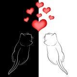 Dos en gatos del amor y corazones rojos Imágenes de archivo libres de regalías