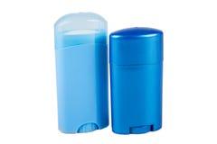 Dos envases azules del desodorante Fotos de archivo libres de regalías
