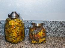 Dos envases de las pastas en la encimera Foto de archivo libre de regalías