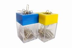 Dos envases del clip de papel Foto de archivo libre de regalías