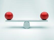 Dos esferas en equilibrio stock de ilustración