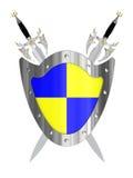 Dos espadas con el blindaje Foto de archivo