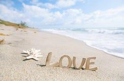 Dos estrellas de mar con el mensaje del amor en la playa de la Florida Imágenes de archivo libres de regalías