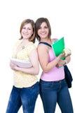 Dos estudiantes con los libros y la manzana Foto de archivo