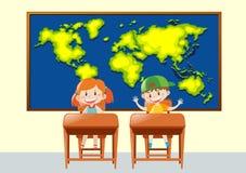 Dos estudiantes en clase de la geografía ilustración del vector