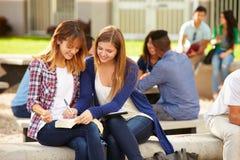 Dos estudiantes femeninos de la High School secundaria que trabajan en campus foto de archivo