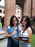 Dos estudiantes indios que estudian en el campus. foto de archivo
