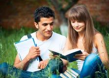 Dos estudiantes individuo y muchacha que estudian en parque en hierba con el libro Imagen de archivo libre de regalías