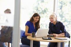 Dos estudiantes maduros femeninos que trabajan junto usando el ordenador portátil imagen de archivo
