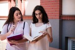 Dos estudiantes que se preparan para los exámenes junto al aire libre Imagen de archivo libre de regalías