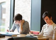 Dos estudiantes que trabajan en una asignación Imagen de archivo libre de regalías