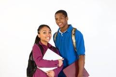 Dos estudiantes sonrientes - ascendente cercano - horizontales Fotografía de archivo
