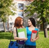 Dos estudiantes sonrientes con el bolso y las carpetas Imagen de archivo