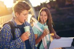 Dos estudiantes sonrientes con su estudiar de los bolsos Foto de archivo
