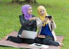 Dos estudiantes universitarios que tienen ideas de la discusión y del cambio mientras que se sienta en el parque Imagenes de archivo