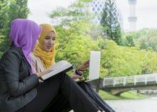 Dos estudiantes universitarios que tienen ideas de la discusión y del cambio mientras que se sienta en el parque Fotos de archivo