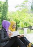 Dos estudiantes universitarios que tienen ideas de la discusión y del cambio mientras que se sienta en el parque Foto de archivo