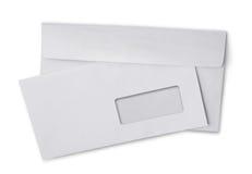 Dos et avant de l'enveloppe blanche pour la correspondance photographie stock libre de droits