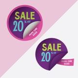 Dos etiquetas engomadas redondas con el descuento del 20% y el código del promo para el sitio web Imágenes de archivo libres de regalías