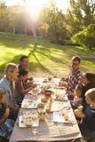 Dos familias que tienen comida campestre en una tabla en un parque, vertical imagen de archivo