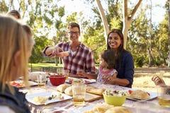 Dos familias que tienen una comida campestre en un parque, hombre que pasa la comida foto de archivo
