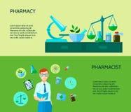 Dos farmacéutico Banner Set Foto de archivo