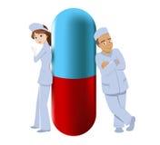 Dos farmacéuticos con la píldora grande libre illustration