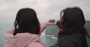 Dos felices apuestos de las señoras de los amigos llegados en lugar del paisaje que sorprende en el top de acantilados miran uno  almacen de metraje de vídeo