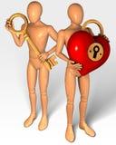 Dos figuras que sostienen llave y la cerradura en la forma del corazón Foto de archivo libre de regalías