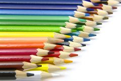 Dos filas de lápices Fotos de archivo libres de regalías