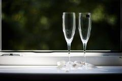Dos flautas elegantes fotos de archivo