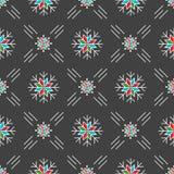 Dos flocos de neve sem emenda do teste padrão do Natal linha cinzenta estilo do fundo da arte Imagem de Stock Royalty Free