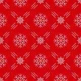 Dos flocos de neve sem emenda do teste padrão do Natal linha vermelha estilo do fundo da arte Fotos de Stock