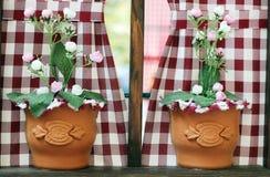 Dos floreros con las flores Foto de archivo