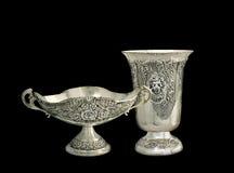 Dos floreros de la plata Foto de archivo
