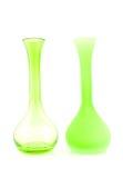 Dos floreros vacíos verdes Foto de archivo libre de regalías