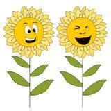 Dos flores sonrientes aisladas en blanco Imagenes de archivo