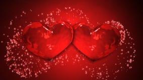 Dos fuegos artificiales de los corazones almacen de metraje de vídeo