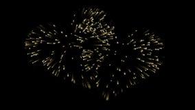 Dos fuegos artificiales del oro en la forma del corazones Alpha Channel Efecto festivo stock de ilustración