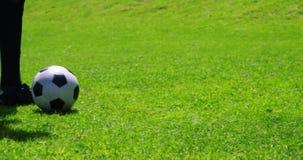Dos futbolistas que pegan una bola en el campo almacen de video