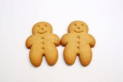 Dos galletas del pan de jengibre Imágenes de archivo libres de regalías