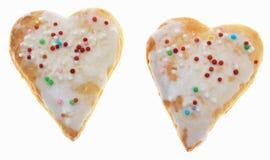 Dos galletas en forma de corazón Imagenes de archivo