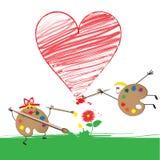 Dos gamas de colores divertidas pintan un corazón rojo Imágenes de archivo libres de regalías