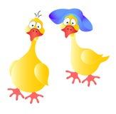 Dos gansos alegres. imagen de archivo