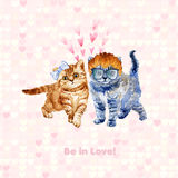 Dos gatitos elegantes Estilo del inconformista Tarjeta de felicitación linda ilustración del vector