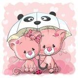Dos gatitos lindos de la historieta con el paraguas