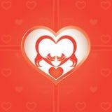 Dos gatos el día de tarjeta del día de San Valentín Fotos de archivo libres de regalías