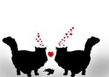 Dos gatos en amor con el bebé lindo Stock de ilustración