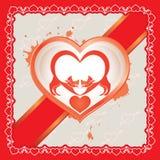 Dos gatos en amor el día de tarjeta del día de San Valentín Foto de archivo libre de regalías